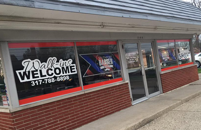 Southport Barber Shop, store front, vinyl graphics, window perf