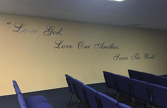 Beech Grove Bible Church, vinyl lettering