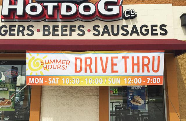 DJ's Hotdogs Beech Grove, Vinyl banners