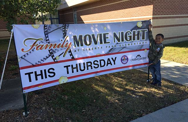 Vinyl banner, digital print, movie night, school banner, warren township schools