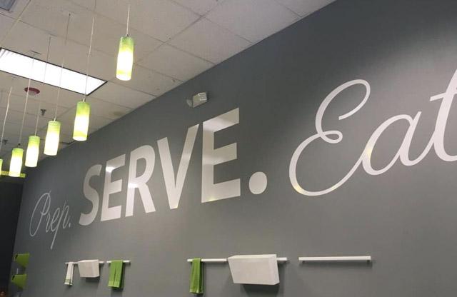 Silver Centre, vinyl lettering, prep serve eat