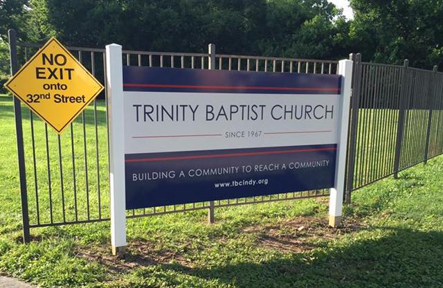 Trinity Baptist Church, post panel sign