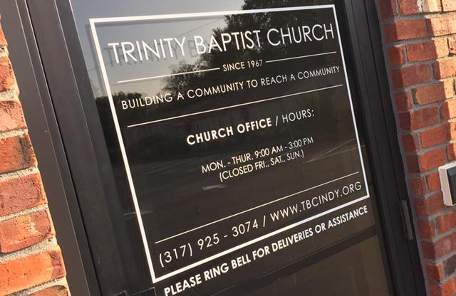 Trinity Baptist Church, Vinyl window decals