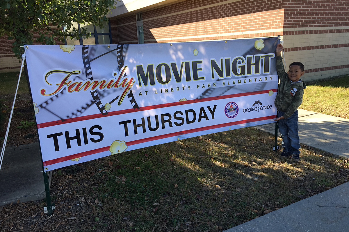 Liberty Park Elementary, Movie night banner