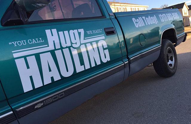 Hugz Hauling, Truck, Logo design, Vinyl lettering & Graphics