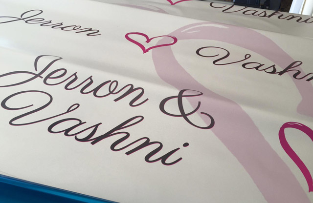 backdrop, step and repeat, vinyl banners, wedding